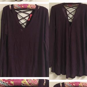 Sweaters - Plum colored sweater with cross back